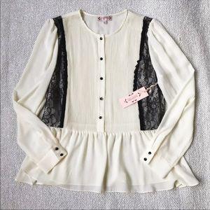 NWT Nanette Lepore White Lace Blouse